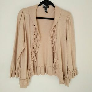 INC International Concepts open ruffled cardigan